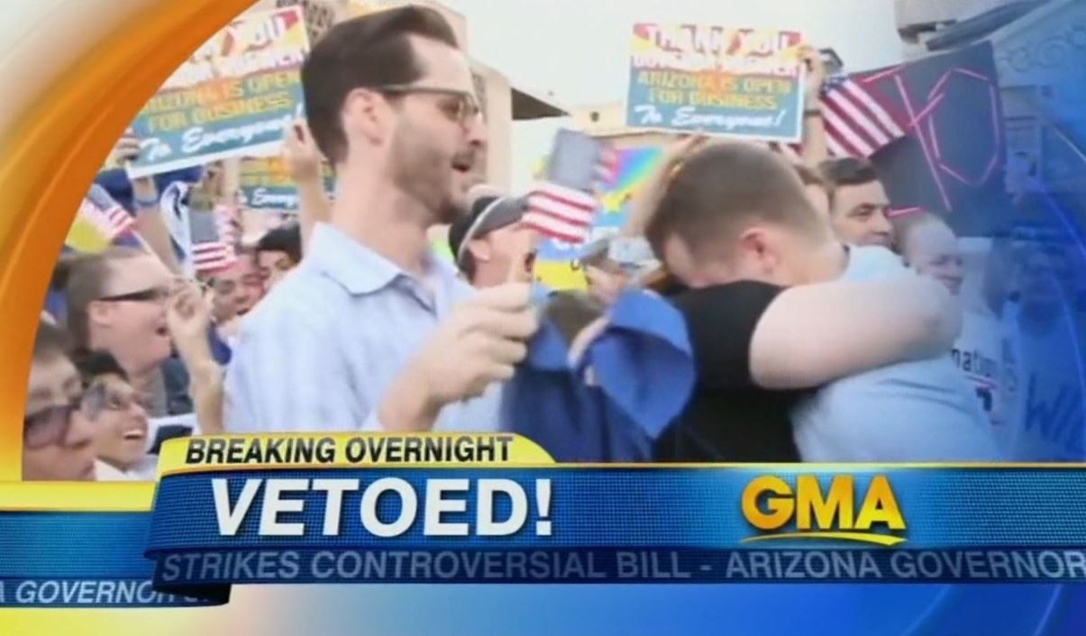 Cheers To Governor Brewer >> Networks Tout 'Cheering Protesters' Celebrating Veto of 'Anti-Gay' Arizona Bill